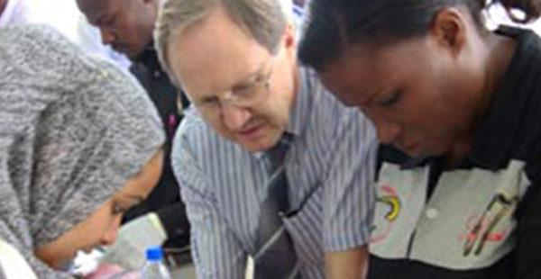 Heath care workers volunteering