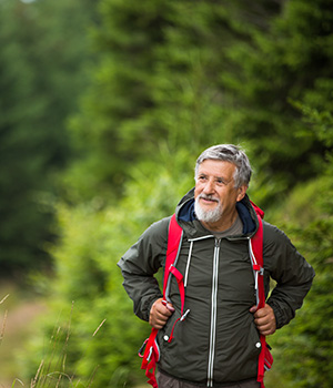 Healthy and active senior hiker